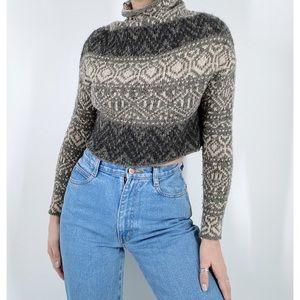Vince Fair Isle Wool Blend Turtleneck Crop Sweater